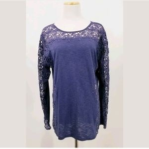 Sundance Large Purple Long Sleeve Eyelet Blouse